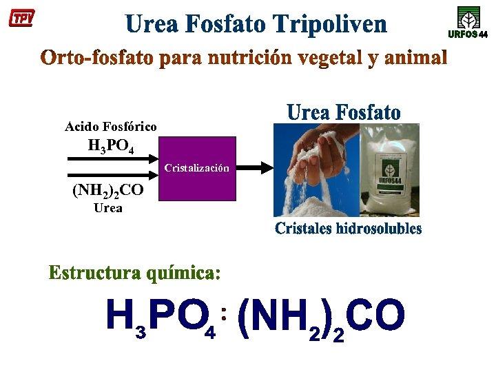 Acido Fosfórico H 3 PO 4 Cristalización (NH 2)2 CO Urea