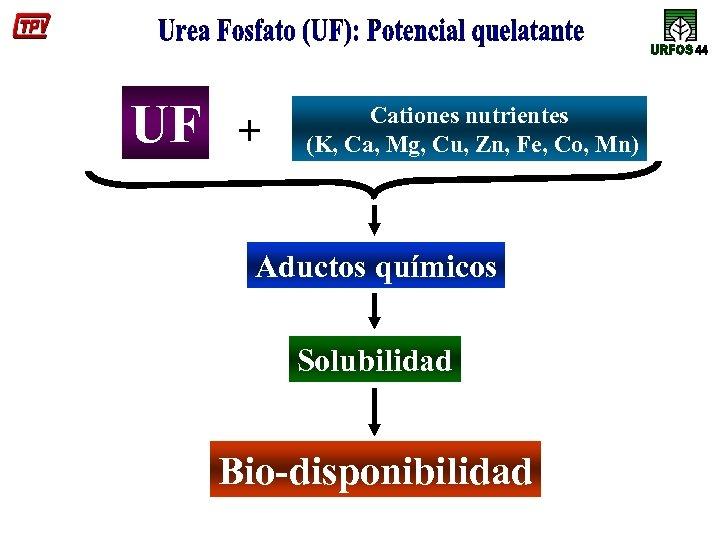 UF + Cationes nutrientes (K, Ca, Mg, Cu, Zn, Fe, Co, Mn) Aductos químicos