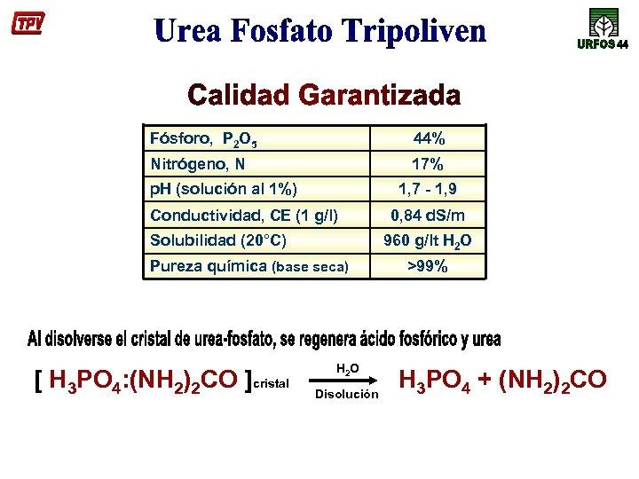 Fósforo, P 2 O 5 44% Nitrógeno, N 17% p. H (solución al 1%)
