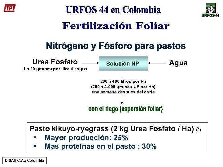 Urea Fosfato 1 a 10 gramos por litro de agua Solución NP Agua 200