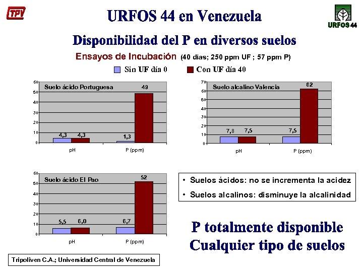 Ensayos de Incubación Sin UF día 0 60 50 Suelo ácido Portuguesa 49 60