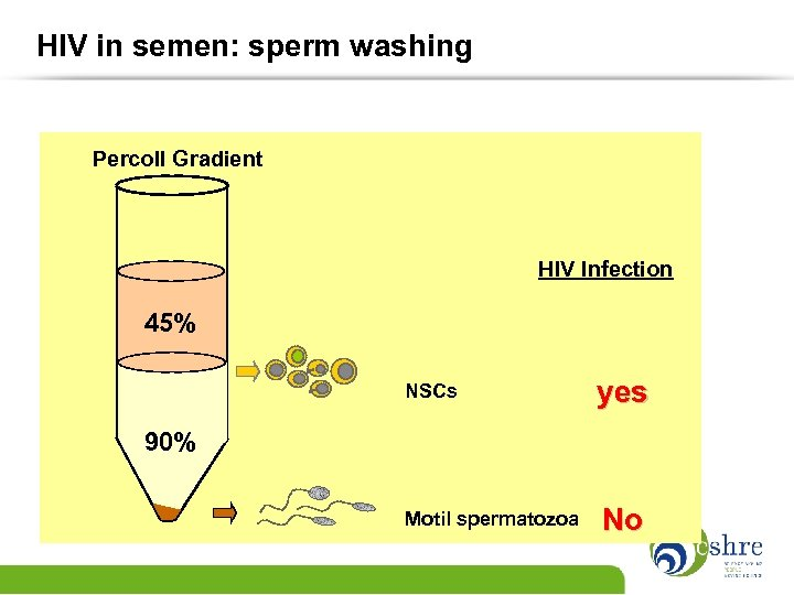 HIV in semen: sperm washing Percoll Gradient HIV Infection 45% NSCs yes Motil spermatozoa