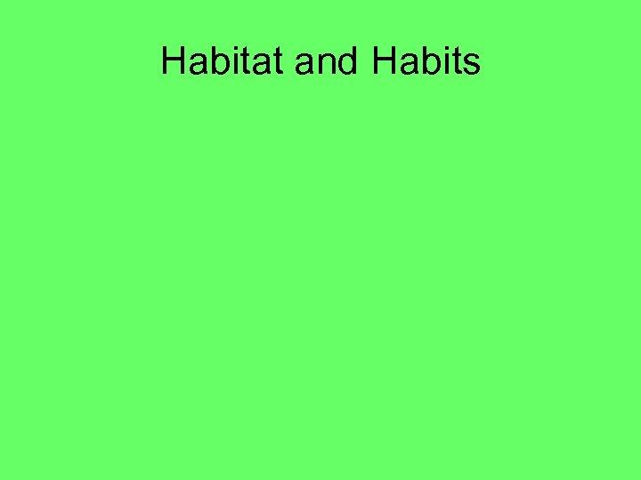 Habitat and Habits