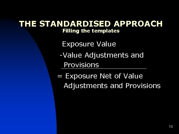 THE STANDARDISED APPROACH Filling the templates Exposure Value -Value Adjustments and Provisions = Exposure