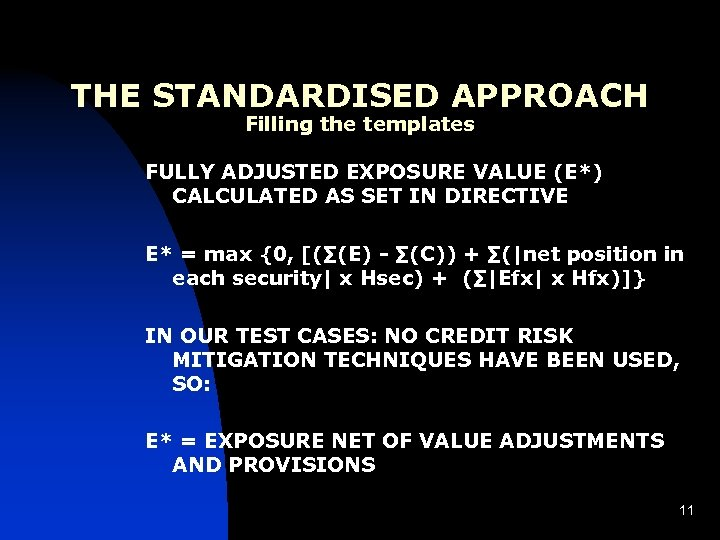 THE STANDARDISED APPROACH Filling the templates FULLY ADJUSTED EXPOSURE VALUE (E*) CALCULATED AS SET