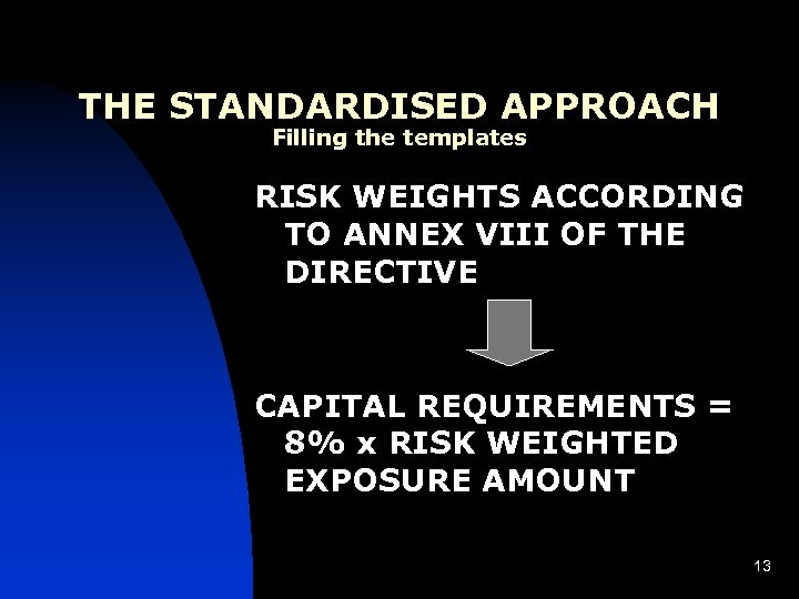 THE STANDARDISED APPROACH Filling the templates RISK WEIGHTS ACCORDING TO ANNEX VIII OF THE