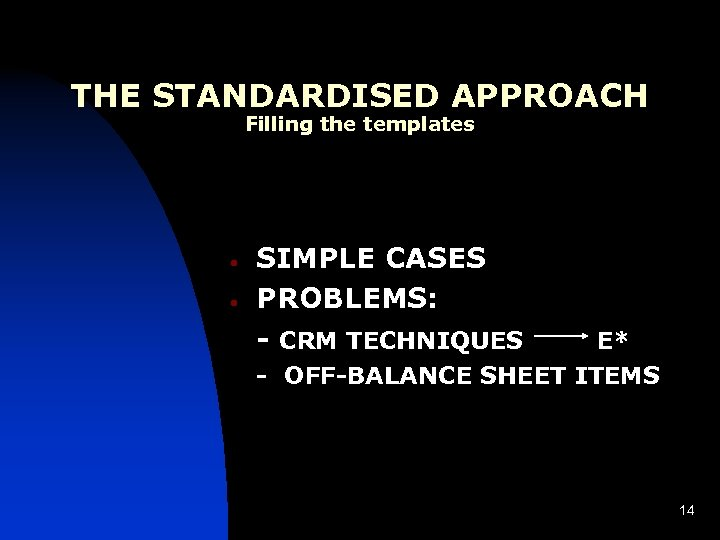 THE STANDARDISED APPROACH Filling the templates • • SIMPLE CASES PROBLEMS: - CRM TECHNIQUES