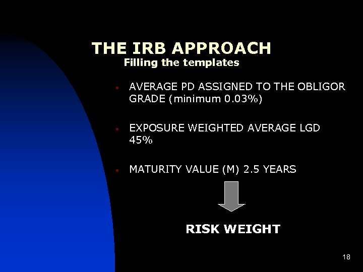 THE IRB APPROACH Filling the templates • • • AVERAGE PD ASSIGNED TO THE