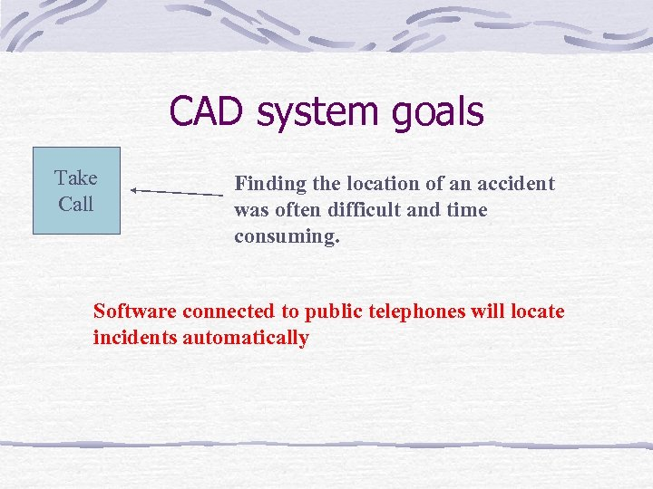 CAD system goals Take Call Finding the location of an accident was often difficult