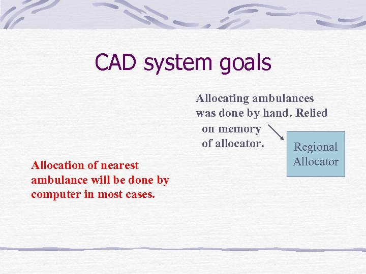 CAD system goals Allocating ambulances was done by hand. Relied on memory of allocator.