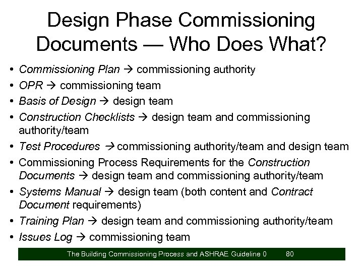 Design Phase Commissioning Documents — Who Does What? • • • Commissioning Plan commissioning