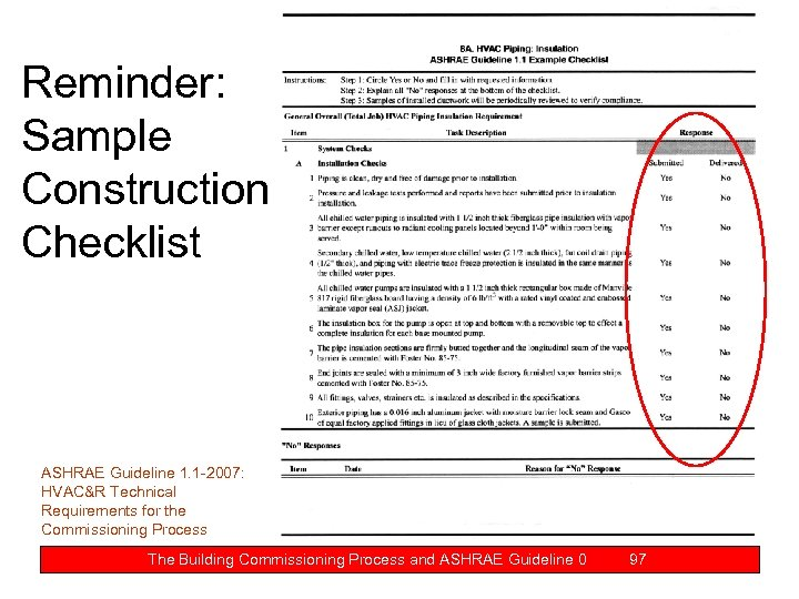 Reminder: Sample Construction Checklist ASHRAE Guideline 1. 1 -2007: HVAC&R Technical Requirements for the