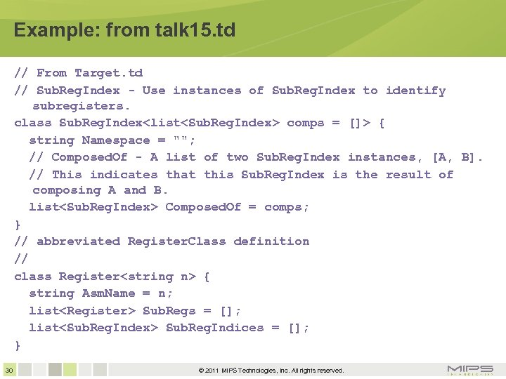 Example: from talk 15. td // From Target. td // Sub. Reg. Index -