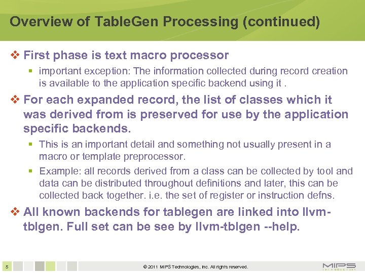 Overview of Table. Gen Processing (continued) First phase is text macro processor important exception: