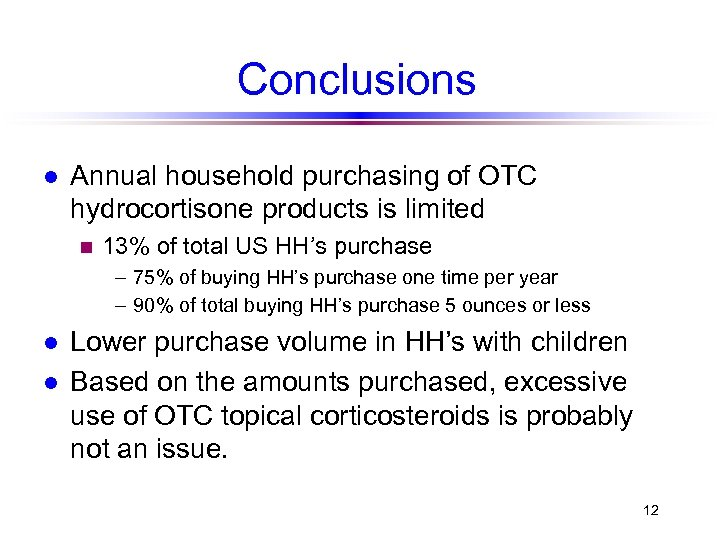 Conclusions l Annual household purchasing of OTC hydrocortisone products is limited n 13% of