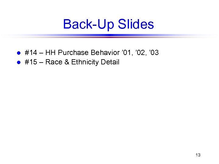 Back-Up Slides l l #14 – HH Purchase Behavior ' 01, ' 02, '