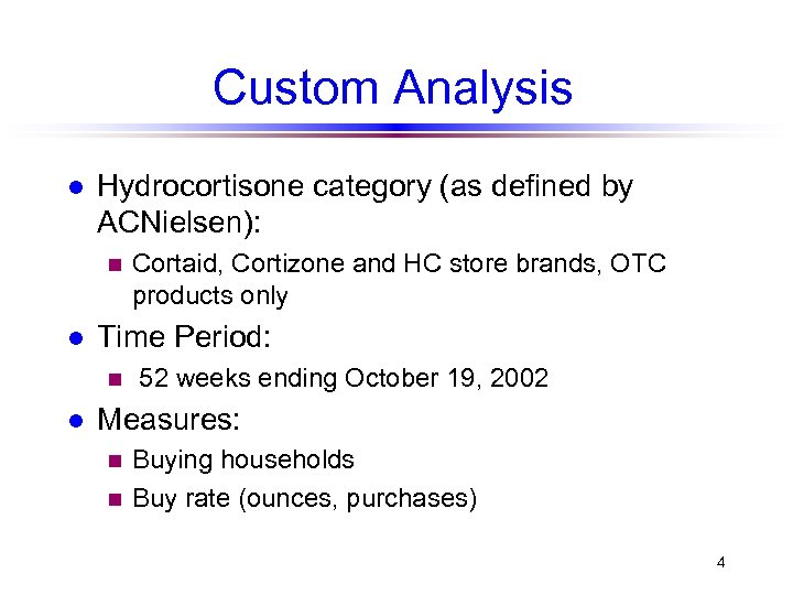 Custom Analysis l Hydrocortisone category (as defined by ACNielsen): n l Time Period: n