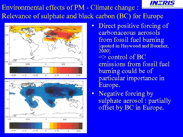 Environmental effects of PM - Climate change : Relevance of sulphate and black carbon
