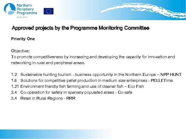Approved projects by the Programme Monitoring Committee Priority One Objective: To promote competitiveness by