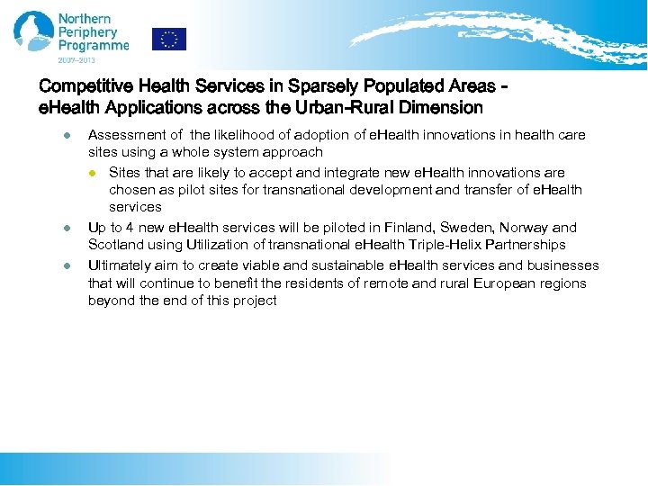 Competitive Health Services in Sparsely Populated Areas e. Health Applications across the Urban-Rural Dimension