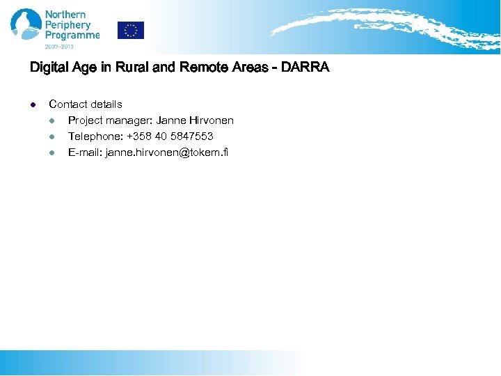 Digital Age in Rural and Remote Areas - DARRA l Contact details l Project