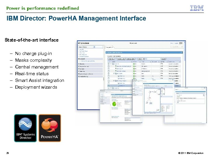 IBM Director: Power. HA Management Interface State-of-the-art interface – – – 28 No charge