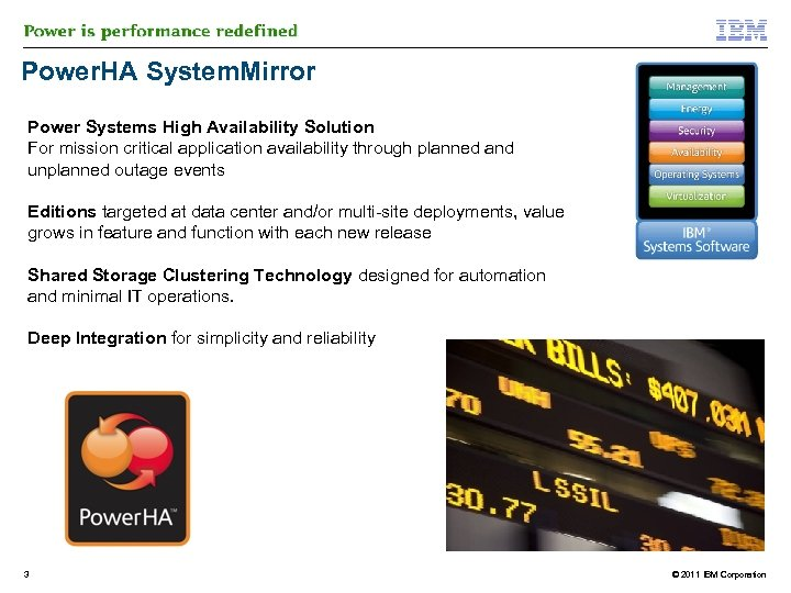 Power. HA System. Mirror Power Systems High Availability Solution For mission critical application availability