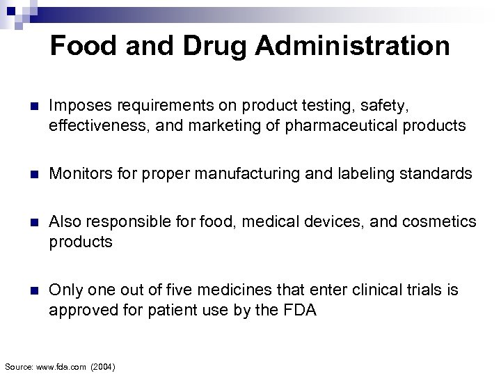 Food and Drug Administration n Imposes requirements on product testing, safety, effectiveness, and marketing