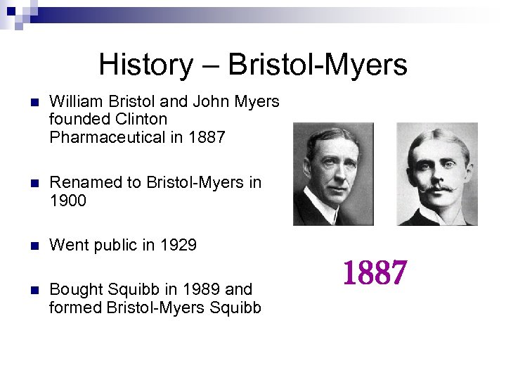 History – Bristol-Myers n William Bristol and John Myers founded Clinton Pharmaceutical in 1887