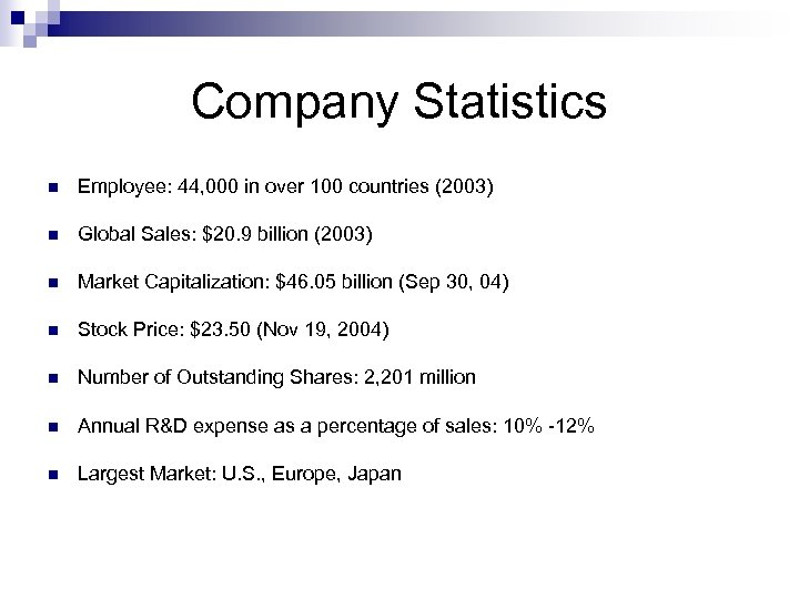Company Statistics n Employee: 44, 000 in over 100 countries (2003) n Global Sales: