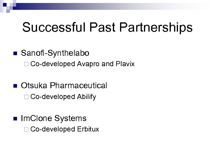 Successful Past Partnerships n Sanofi-Synthelabo ¨ Co-developed Avapro and Plavix n Otsuka Pharmaceutical ¨