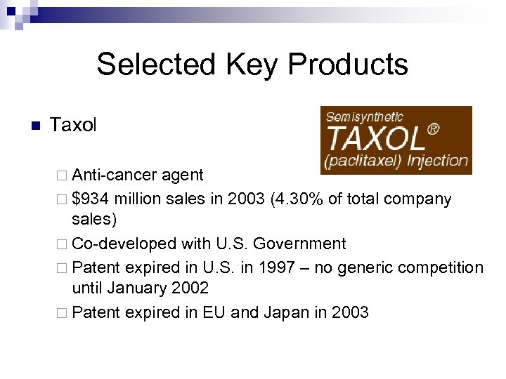 Selected Key Products n Taxol ¨ Anti-cancer agent ¨ $934 million sales in 2003