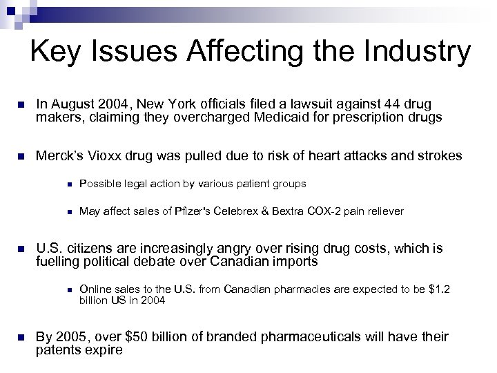 Key Issues Affecting the Industry n In August 2004, New York officials filed a