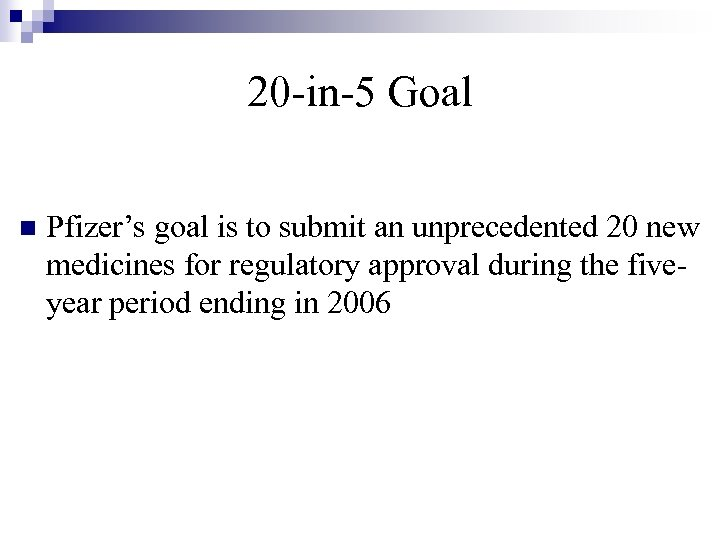 20 -in-5 Goal n Pfizer's goal is to submit an unprecedented 20 new medicines
