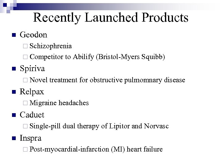 Recently Launched Products n Geodon ¨ Schizophrenia ¨ Competitor to Abilify (Bristol-Myers Squibb) n