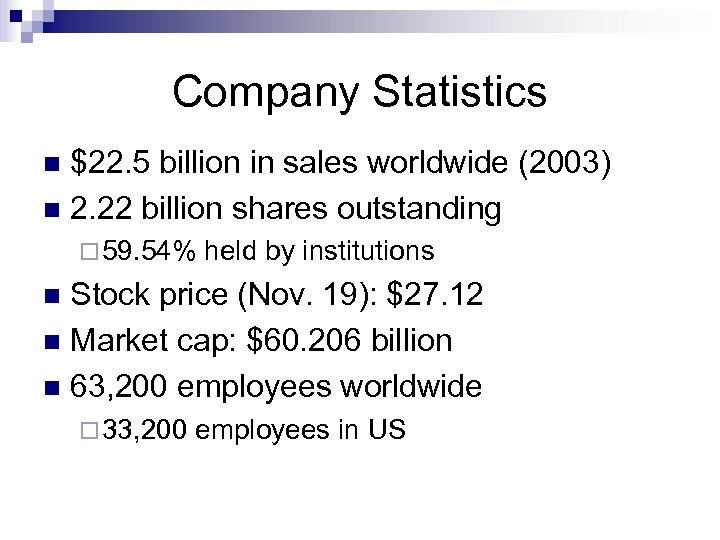Company Statistics $22. 5 billion in sales worldwide (2003) n 2. 22 billion shares