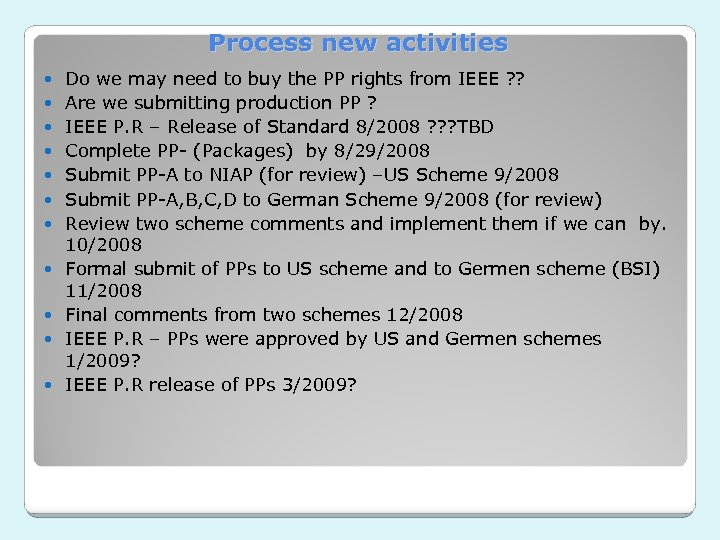 Process new activities Do we may need to buy the PP rights from IEEE