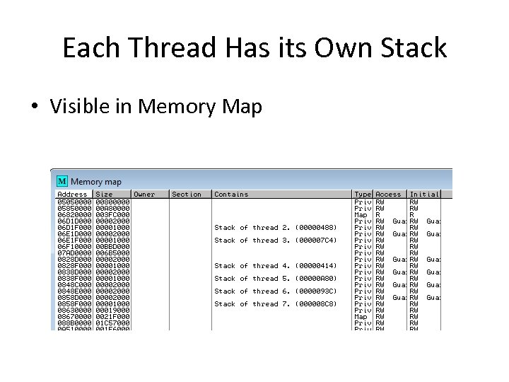 Each Thread Has its Own Stack • Visible in Memory Map