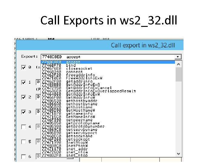 Call Exports in ws 2_32. dll