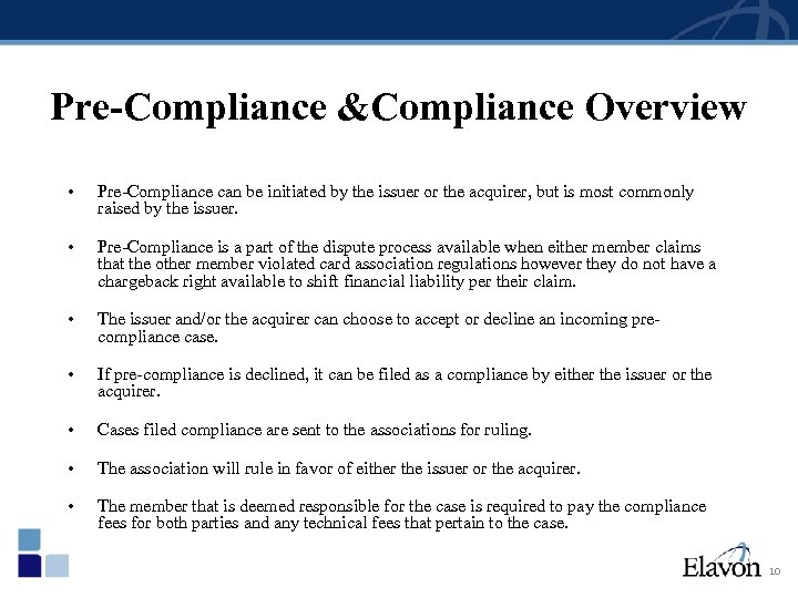 Pre-Compliance &Compliance Overview • Pre-Compliance can be initiated by the issuer or the acquirer,