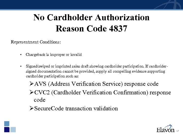 No Cardholder Authorization Reason Code 4837 Representment Conditions: • Chargeback is improper or invalid
