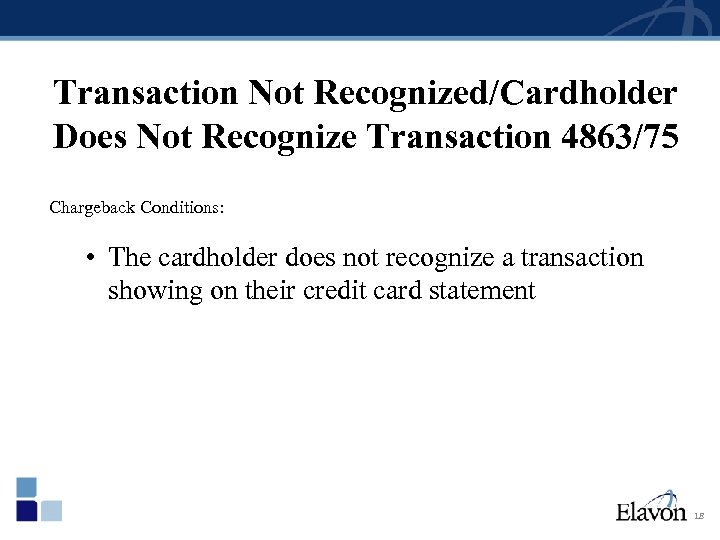 Transaction Not Recognized/Cardholder Does Not Recognize Transaction 4863/75 Chargeback Conditions: • The cardholder does