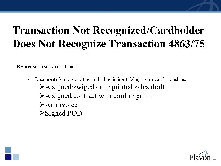 Transaction Not Recognized/Cardholder Does Not Recognize Transaction 4863/75 Representment Conditions: • Documentation to assist