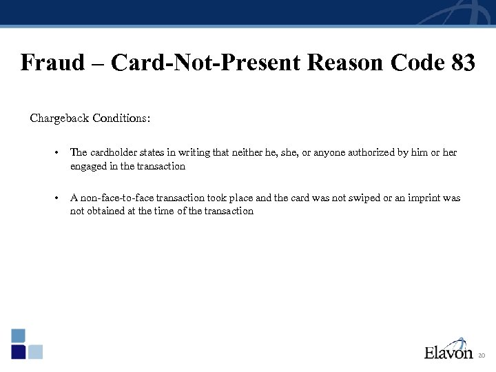 Fraud – Card-Not-Present Reason Code 83 Chargeback Conditions: • The cardholder states in writing