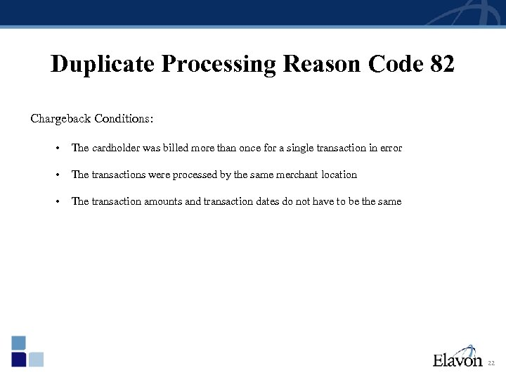 Duplicate Processing Reason Code 82 Chargeback Conditions: • The cardholder was billed more than