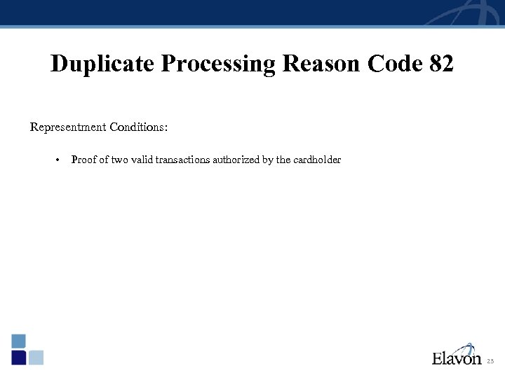 Duplicate Processing Reason Code 82 Representment Conditions: • Proof of two valid transactions authorized