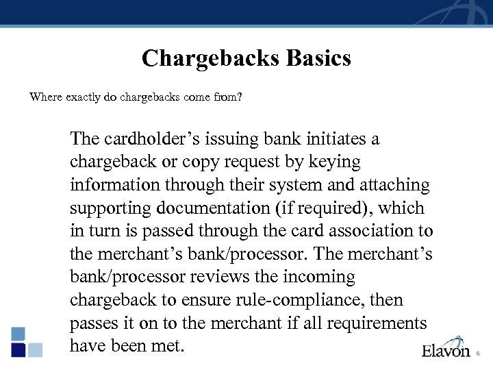 Chargebacks Basics Where exactly do chargebacks come from? The cardholder's issuing bank initiates a