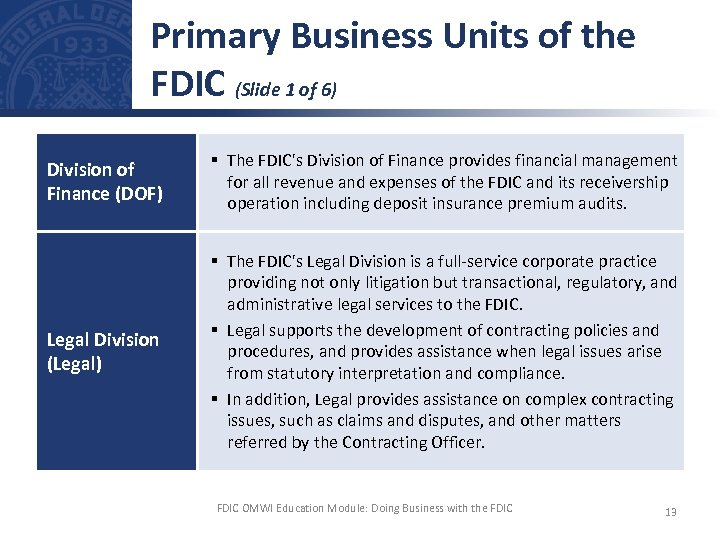 Primary Business Units of the FDIC (Slide 1 of 6) Division of Finance (DOF)