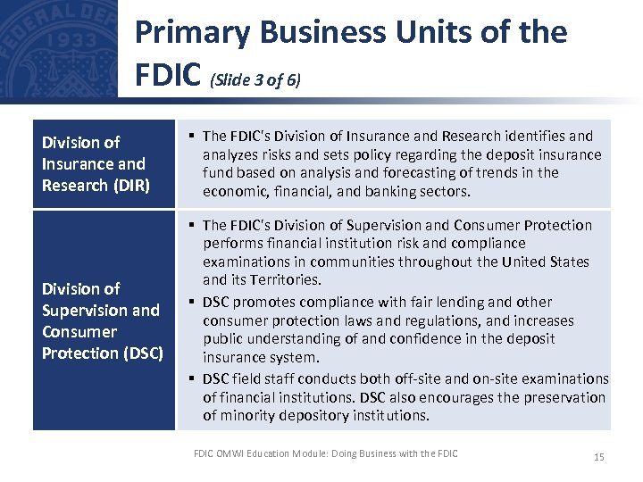 Primary Business Units of the FDIC (Slide 3 of 6) Division of Insurance and
