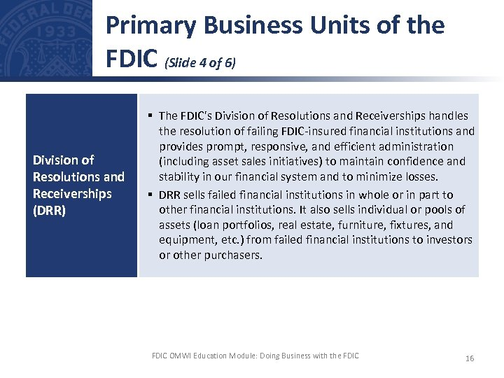 Primary Business Units of the FDIC (Slide 4 of 6) Division of Resolutions and